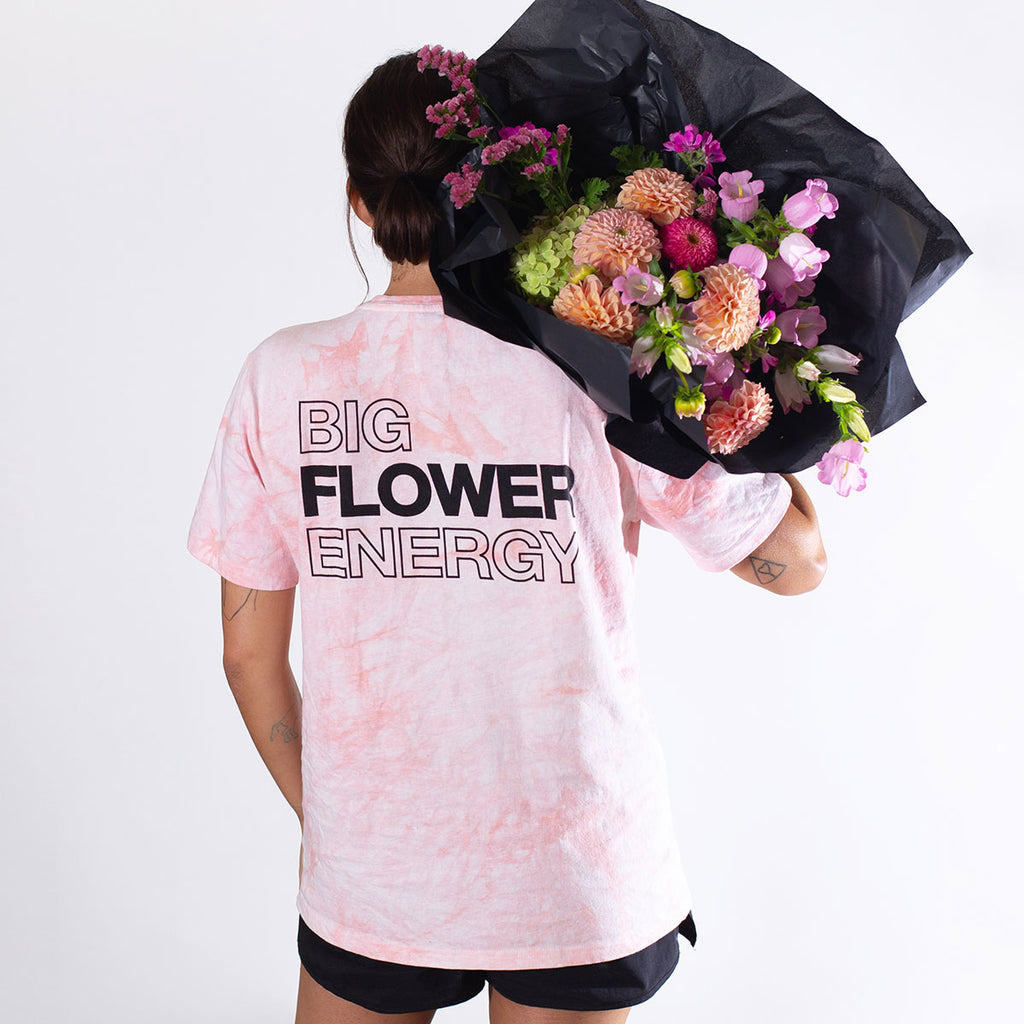 Floom Big Flower Energy T-Shirt - Peach Tie Dye (Back)