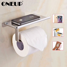 Load image into Gallery viewer, Stainless Steel Toilet Paper Holder For Phones Shelf