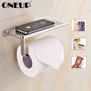 Stainless Steel Toilet Paper Holder For Phones Shelf