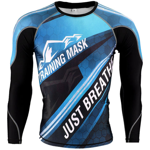 Training Mask Just Breathe ® Blue Long Sleeve Compression Shirt