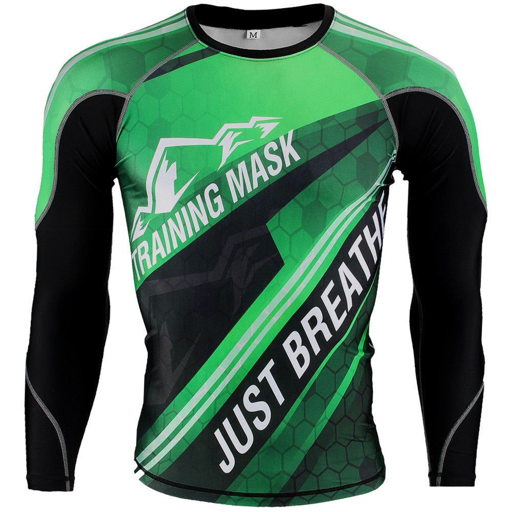 Training Mask Just Breathe Kids Green Long Sleeve Compression Shirt