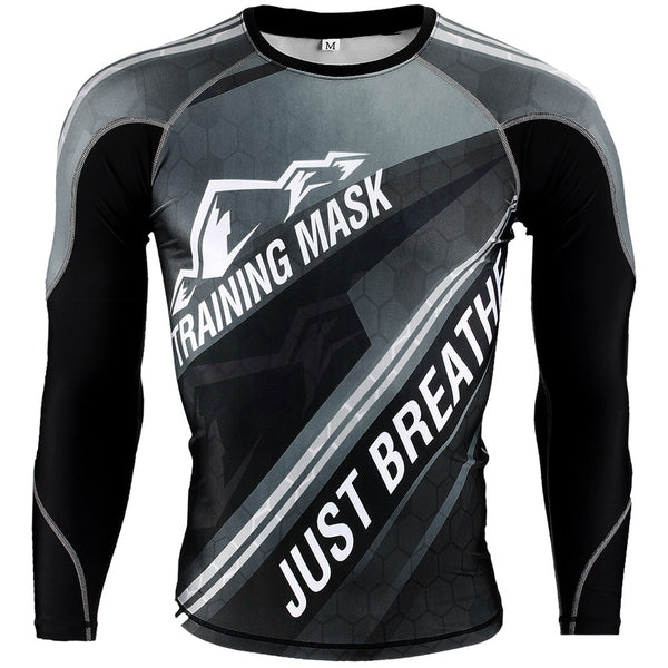 Training Mask Just Breathe ® Grey Long Sleeve Compression Shirt