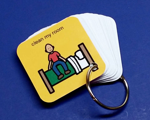Clean My Room Autism PECS Keyring Prompter Organizer - ABA visual aid exercise