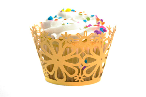 Gold Daisy Flower Standard Sized Cupcake Wrappers