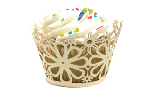 Ivory Daisy Flower Standard Sized Cupcake Wrappers