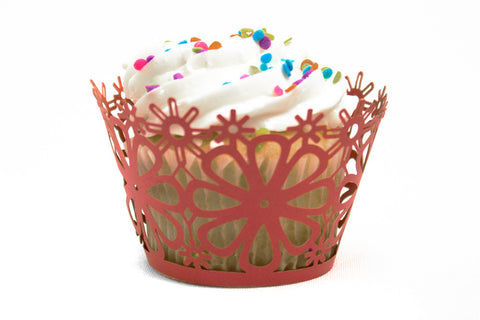 Red Daisy Flower Standard Sized Cupcake Wrappers