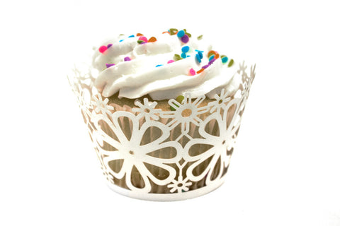 White Daisy Flower Standard Sized Cupcake Wrappers