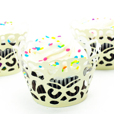 Ivory Damask Laser Cut Cupcake Wrappers
