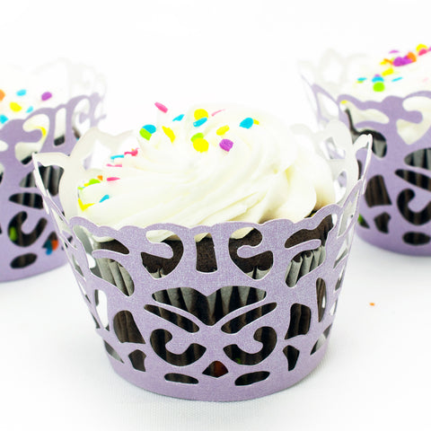 Purple Damask Laser Cut Cupcake Wrappers