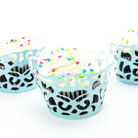 Teal Damask Laser Cut Cupcake Wrappers