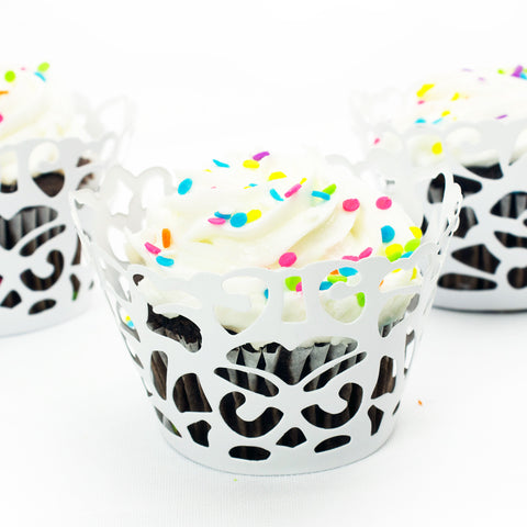White Damask Laser Cut Cupcake Wrappers