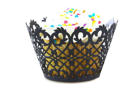 Craft Clouds Black Filigree Fence Cupcake Wrappers