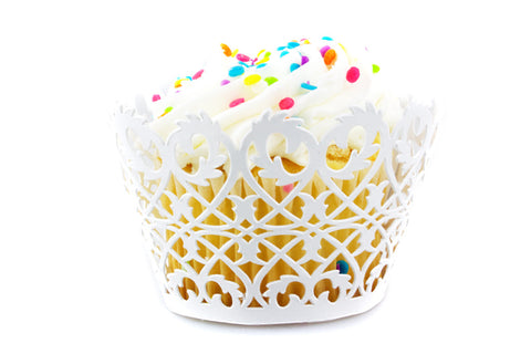 Craft Clouds White Filigree Fence Cupcake Wrappers