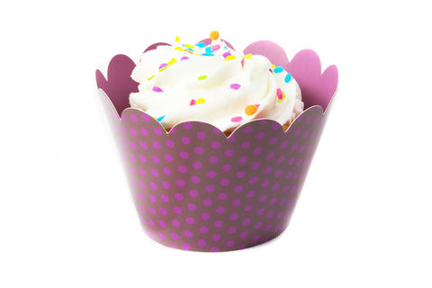 Purple Polka Dot Cupcake Wrappers