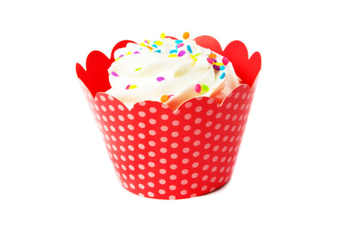 Red Polka Dot Cupcake Wrappers
