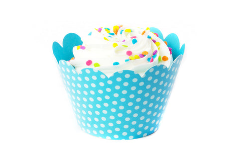 Teal Polka Dot Cupcake Wrappers