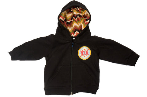 Black Baby Sweatshirt with Zigzag Desert Hoodie and Love Patch
