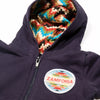 Navy Blue Baby Sweatshirt with Zigzag Serape Hoodie and Zamforia Patch, Detail