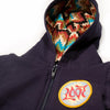 Navy Blue Baby Sweatshirt with Zigzag Serape Hoodie and Love Patch, Detail
