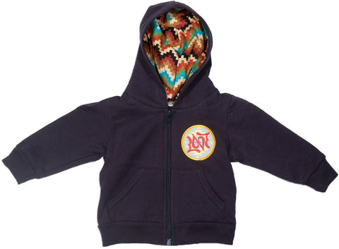 Navy Blue Baby Sweatshirt with Zigzag Serape Hoodie and Love Ambigram Patch