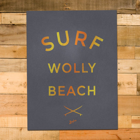 12x16 Surf Wolly Poster, Sunset