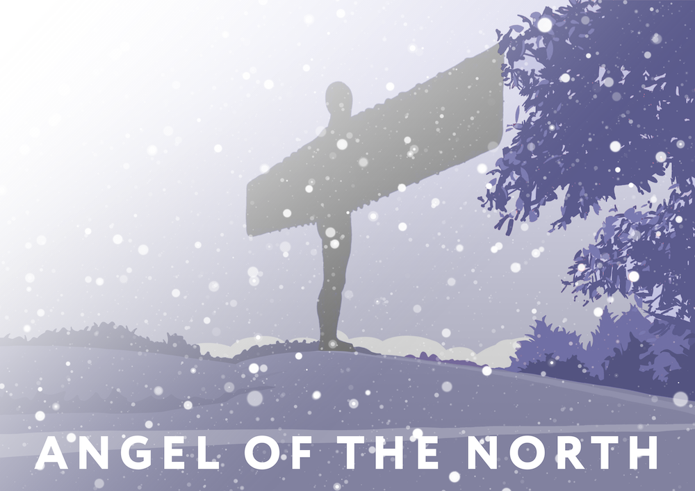 Angel of the North Art Print (Snow)