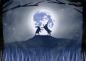 Boxing Hares in Moonlight Art Print