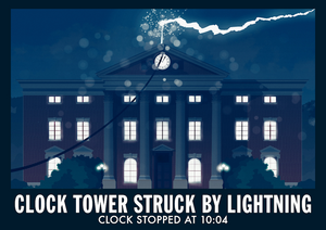 "Hill Valley ""Clock Tower Hit By Lightning"" Art Print"