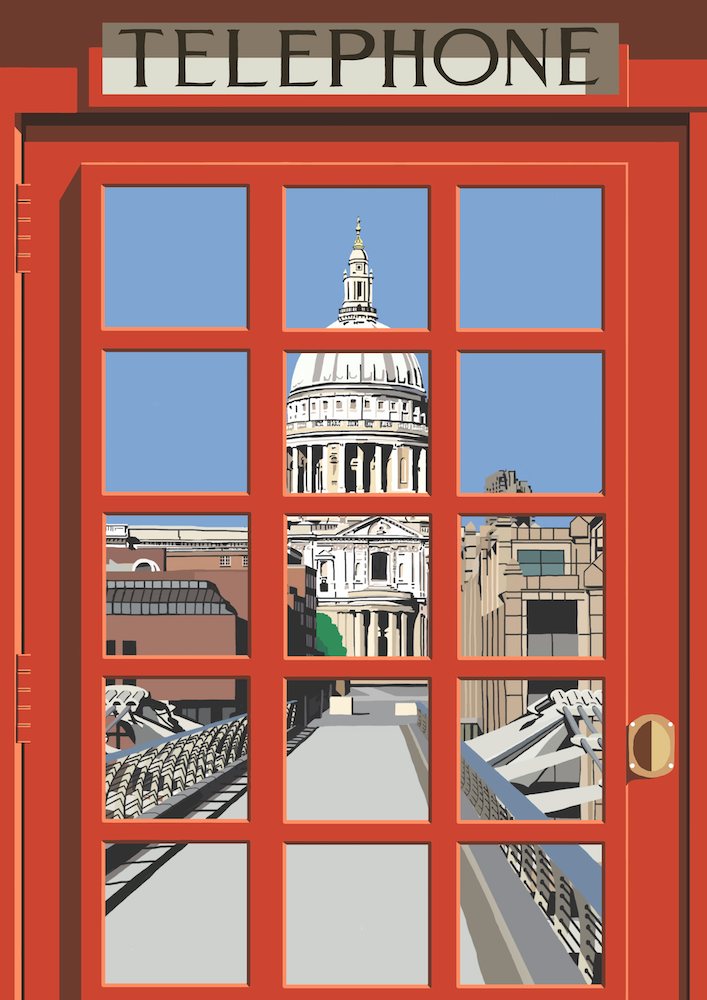 London Telephone Box (St Paul's Cathedral) Art Print