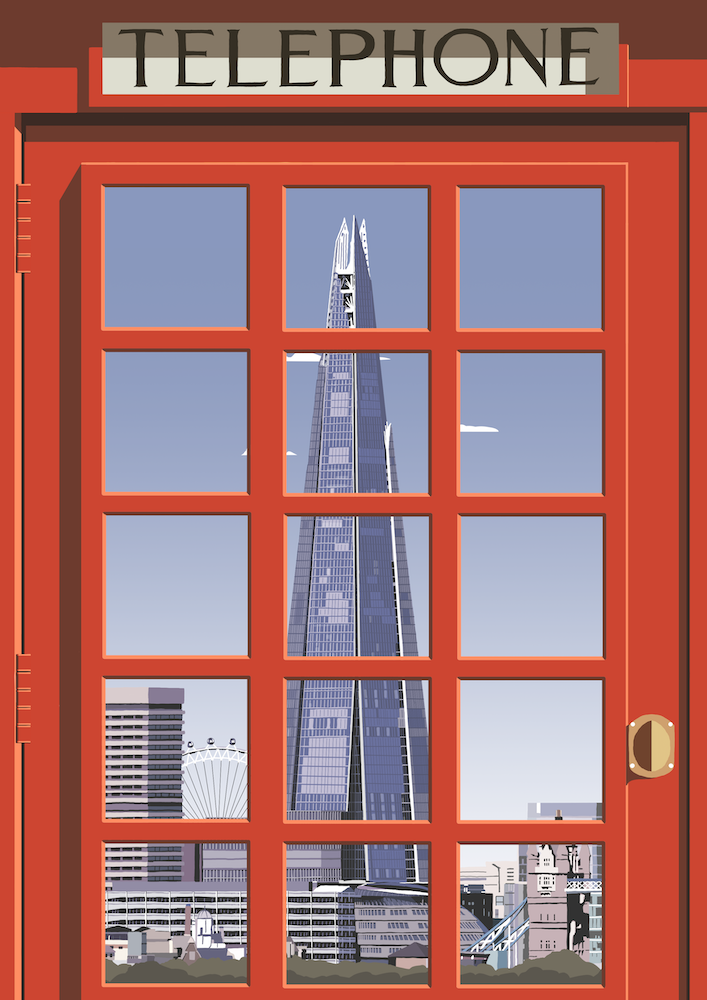 London Telephone Box (Shard) Art Print