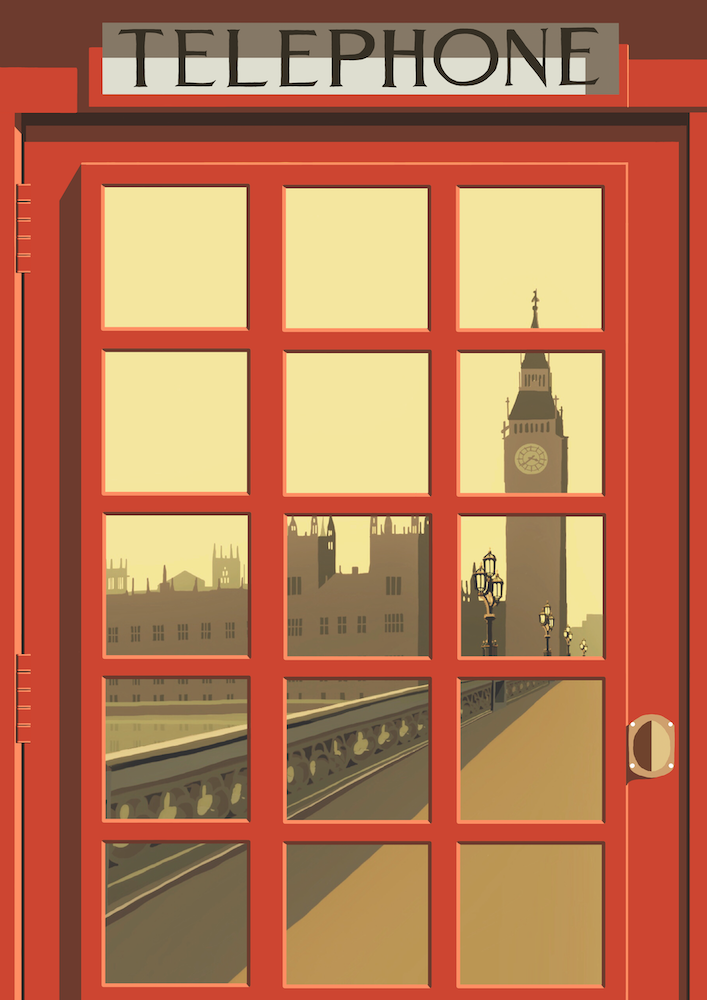 London Telephone Box (Palace of Westminster) Art Print