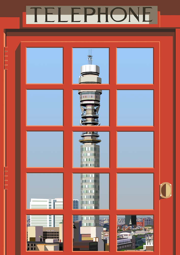 London Telephone Box (Post Office Tower) Art Print