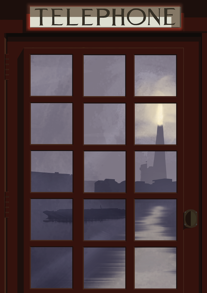 London Telephone Box (Shard night) Art Print