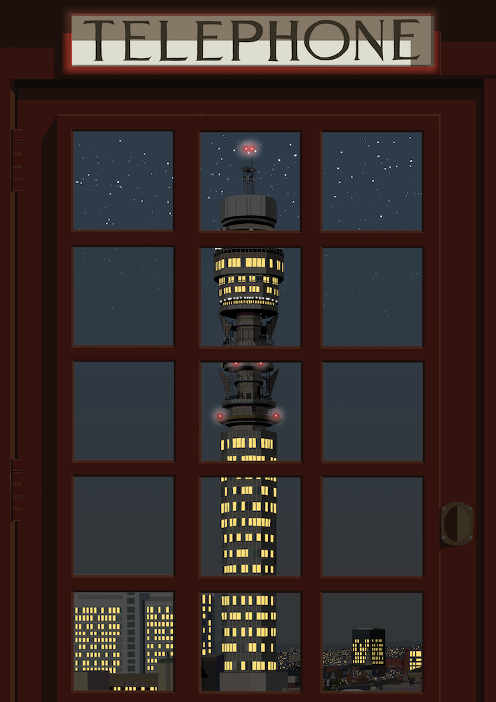 London Telephone Box (Post Office Tower night) Art Print