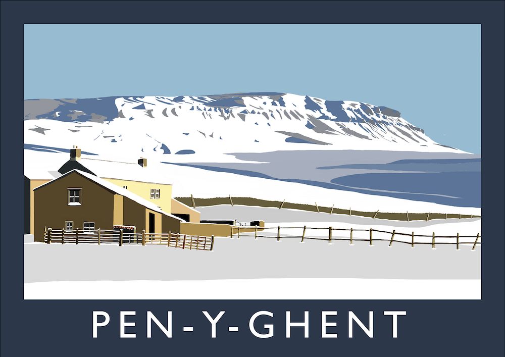 Pen-y-Ghent Art Print (Snow)