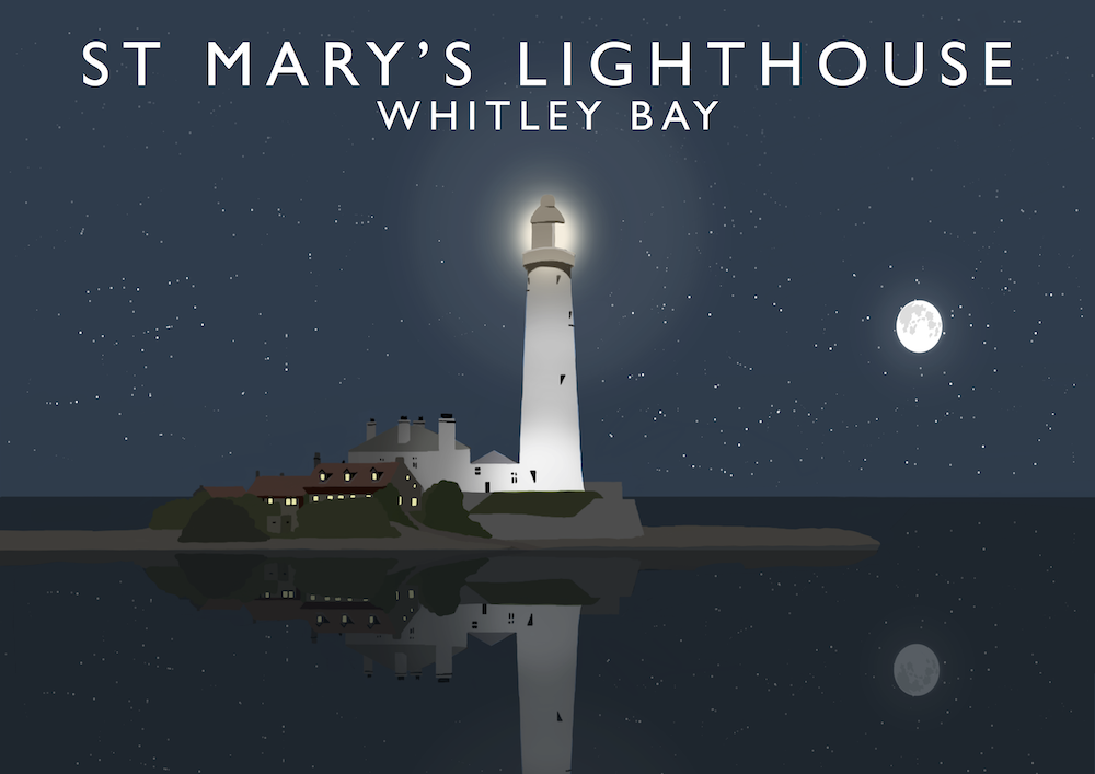 St Mary's Lighthouse, Whitley Bay Art Print (Night)