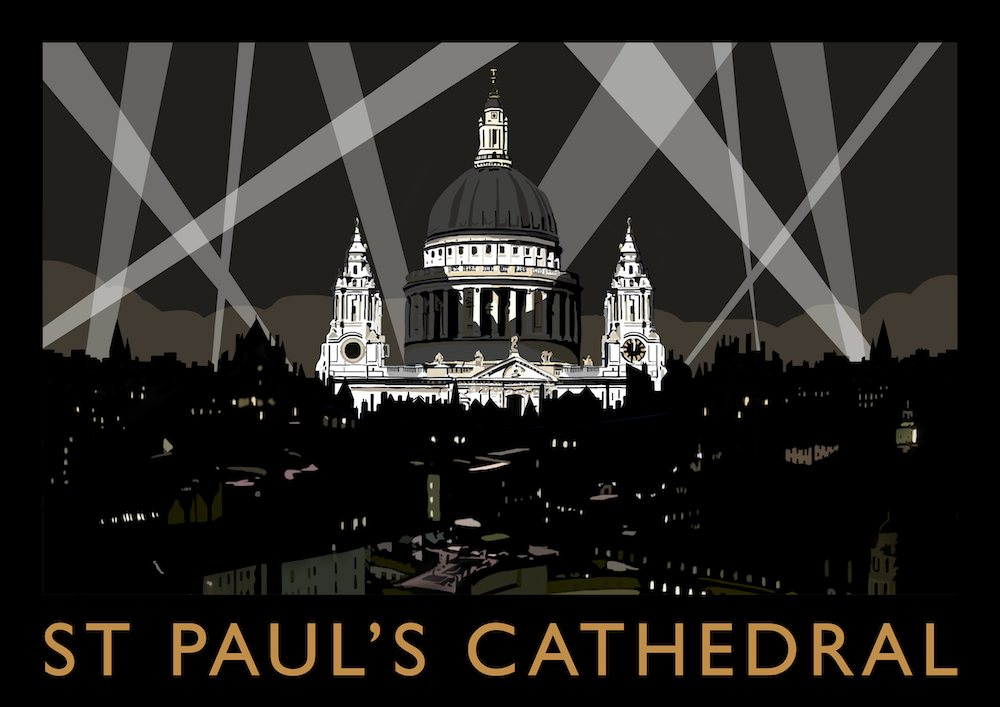 Searchlights at St Paul's Cathedral Art Print