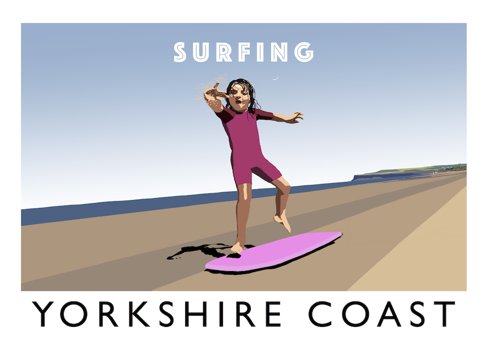 Yorkshire Coast - Surfing Art Print