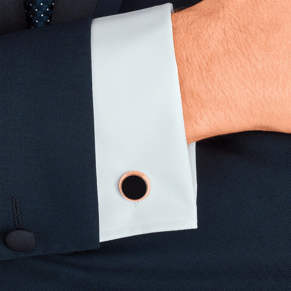 Meisterstück onyx and rose gold PVD round cufflinks