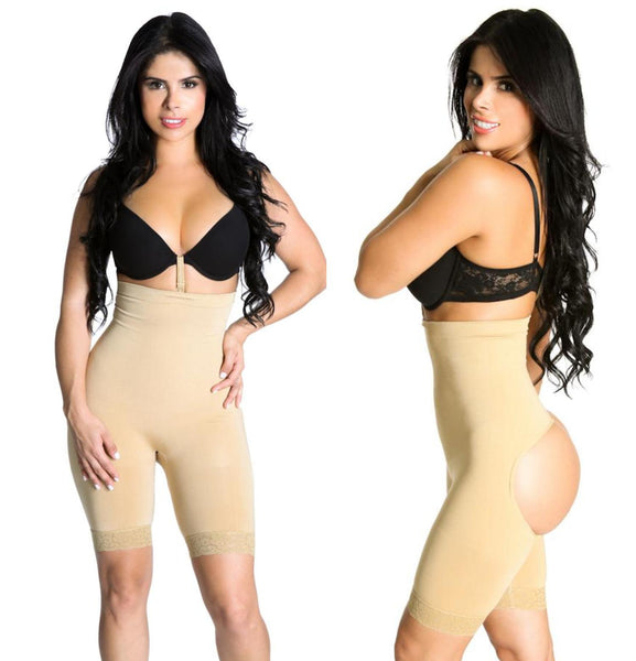 Shapextreme® High Waisted Butt Lifter Thigh Control Laced Booty Lift BodyShaper Bodysuit 3 In 1 Thigh And Tommy Control