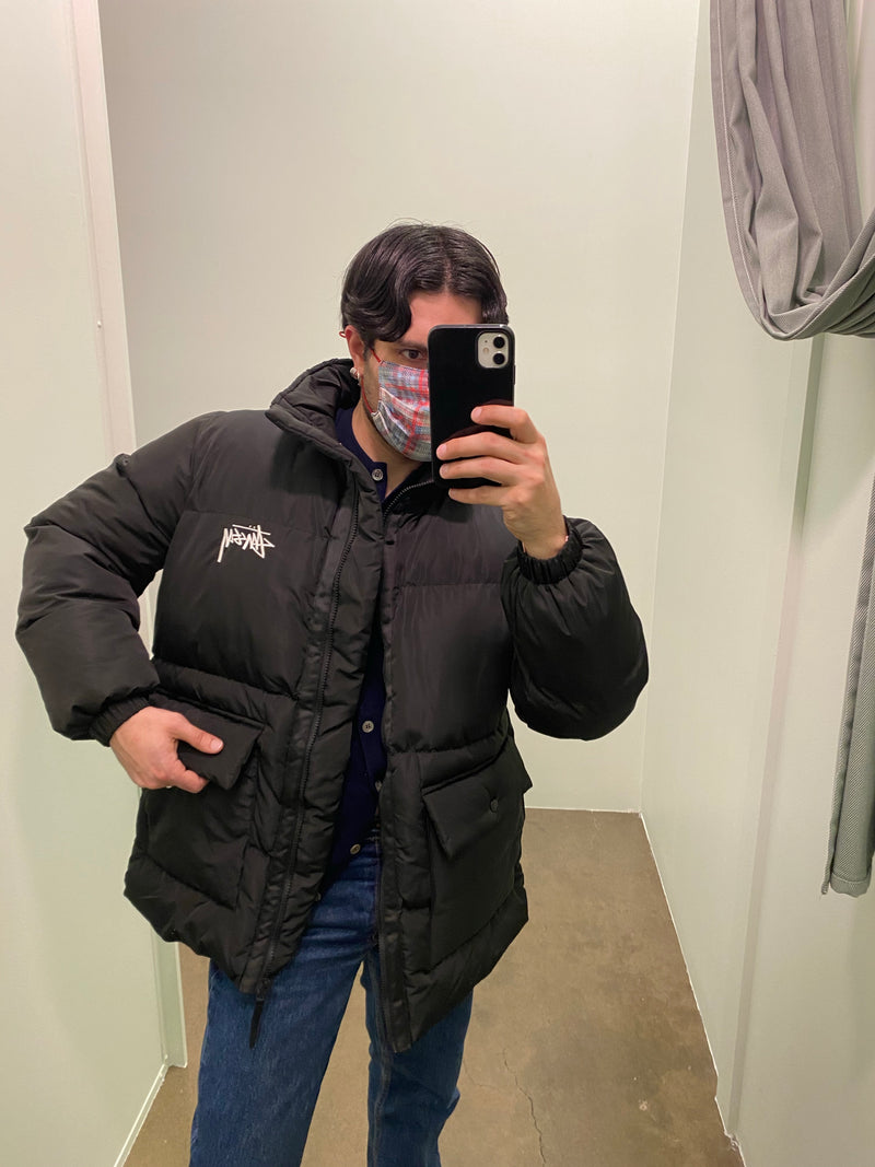 Black Stüssy Zip Up Puffer Jacket