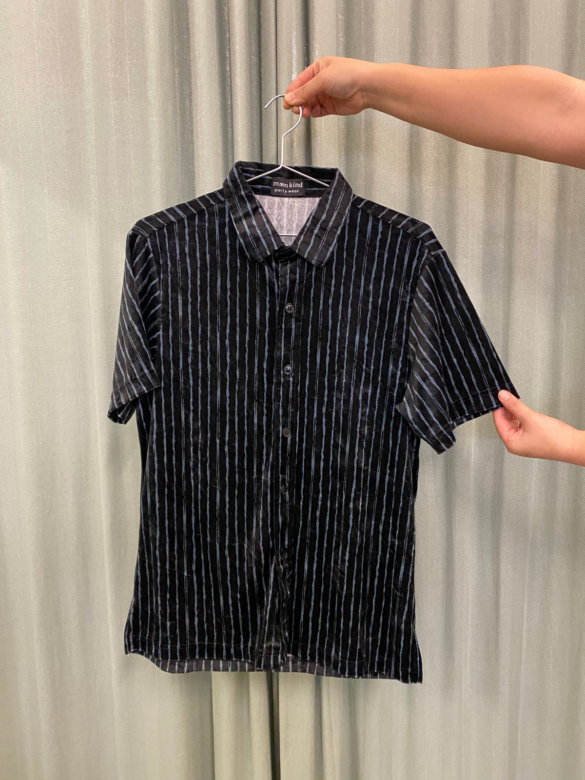 Black Velour Striped Shirt