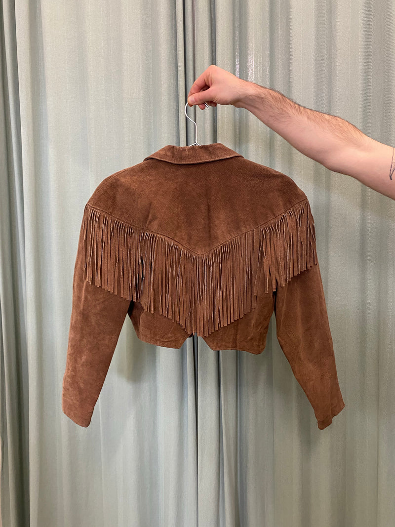 Brown Suede Cow-Girl Fringe Jacket