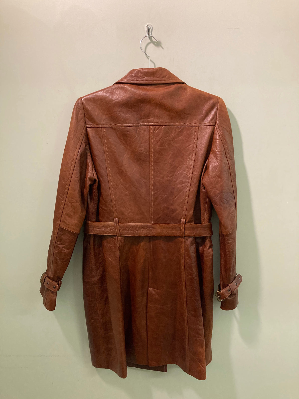 Brown Double Breasted Leather Trench