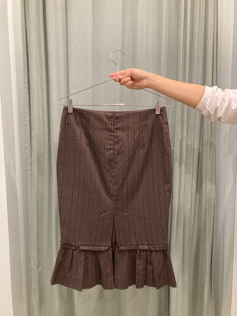 Brown Pinstripe Pencil Skirt