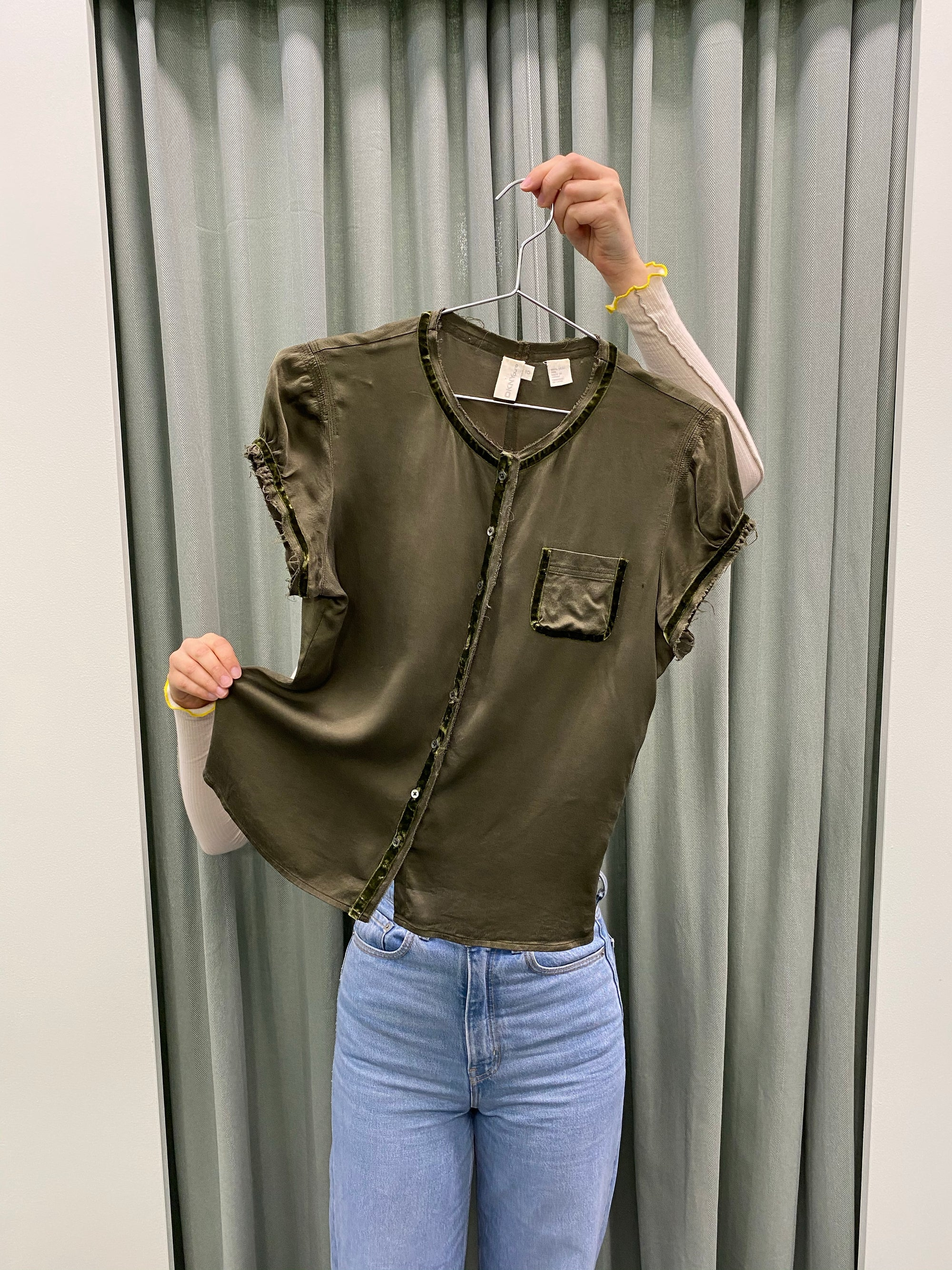DKNY Delicate Olive Silk Blouse