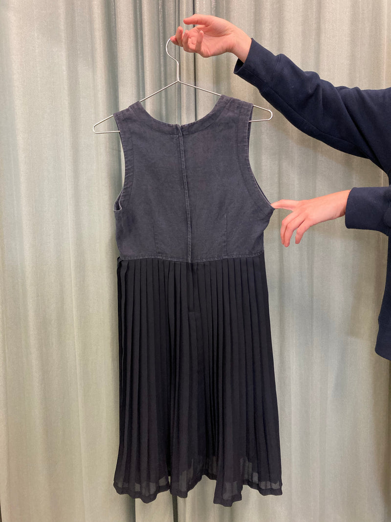 Pleated Navy Summer Dress