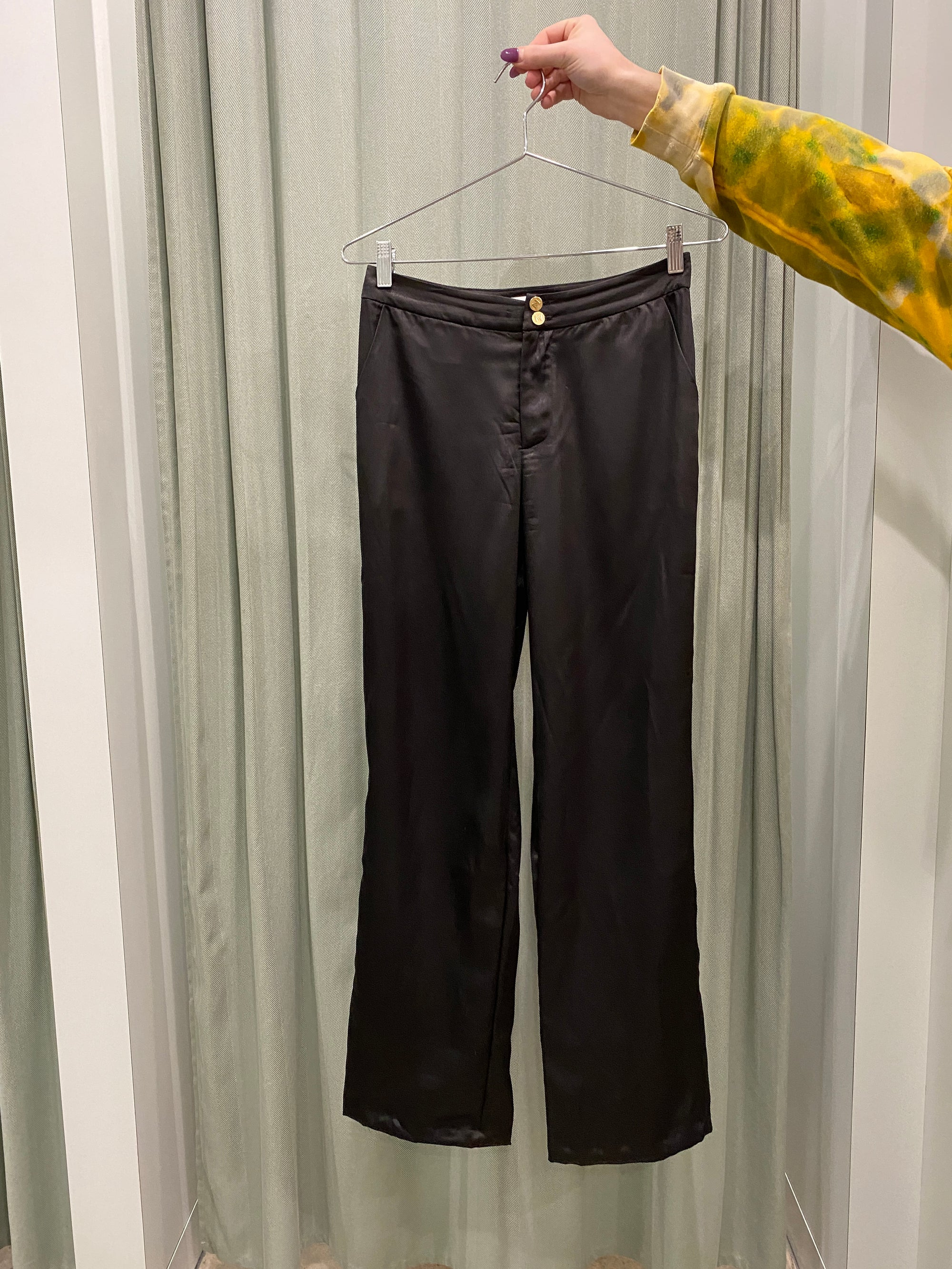 Shiny Black Satin Pant