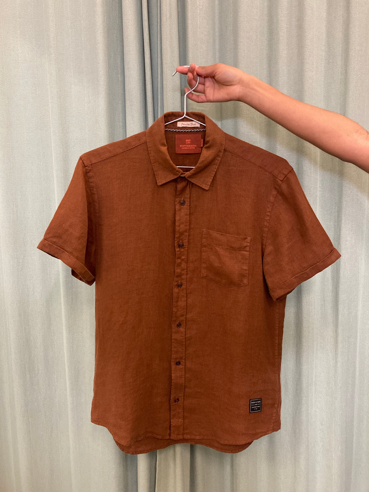 Scotch & Soda Brown Linen Shirt