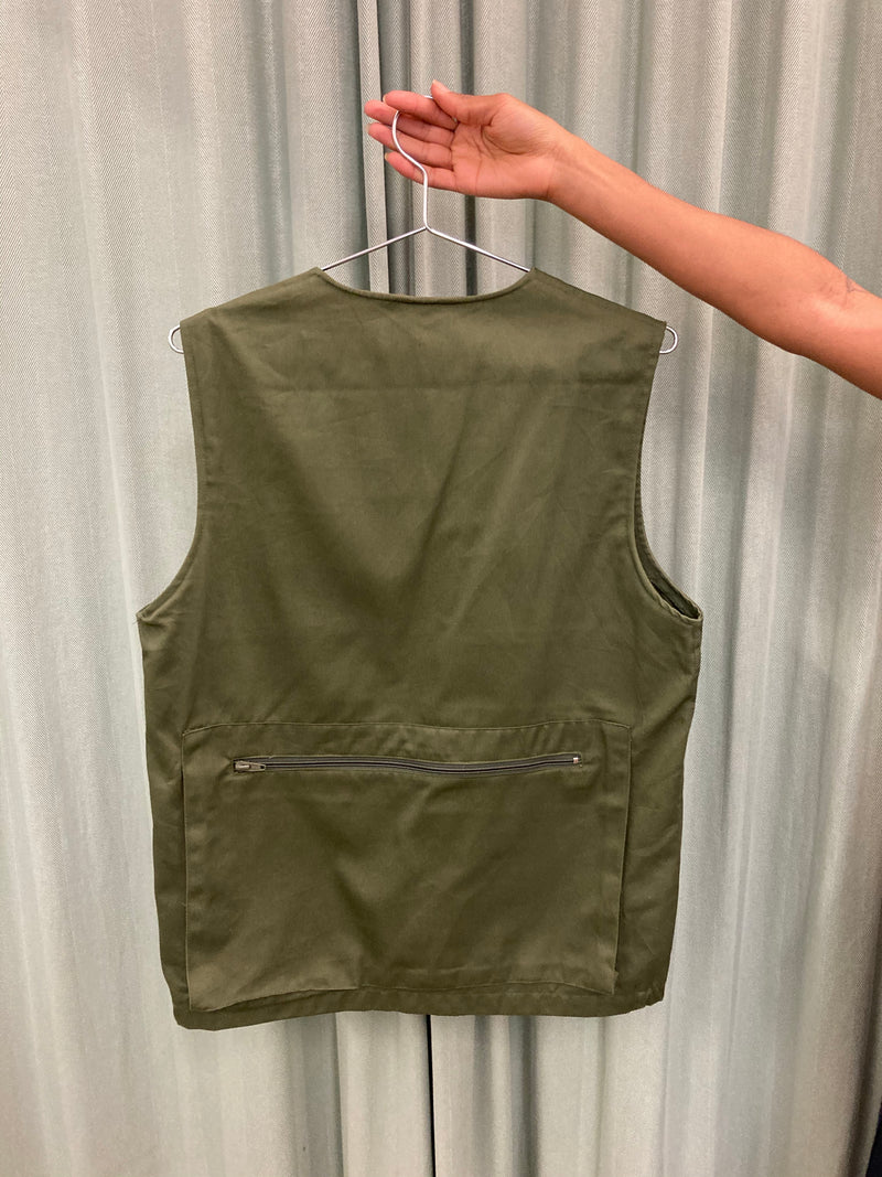 Khaki Zip Up Vest